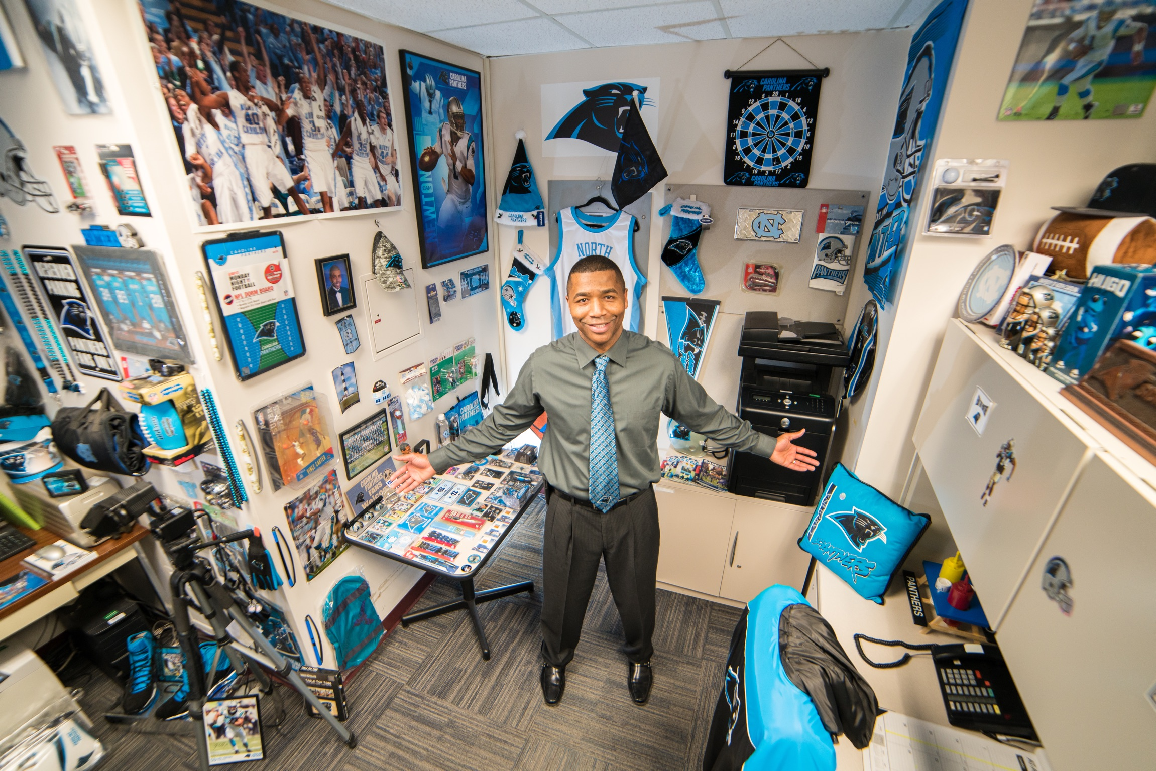 DINFOS staffer cheerfully shares his love for the Carolina Panthers