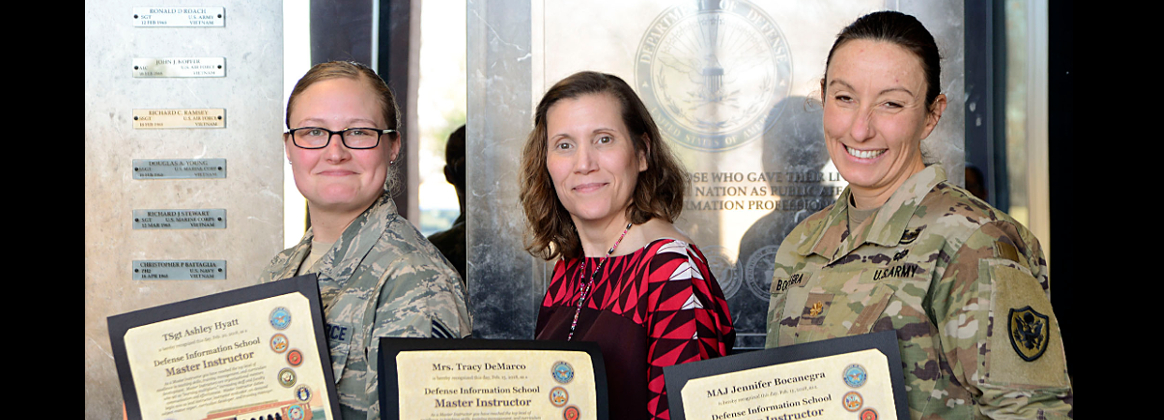 Tech. Sgt Ashley Hyatt, Tracy DeMarco and Maj. Jennifer Bocanegra become master instructors Feb. 20, 2018.