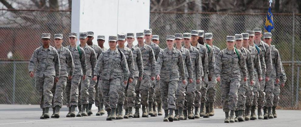 Airman marching in formation
